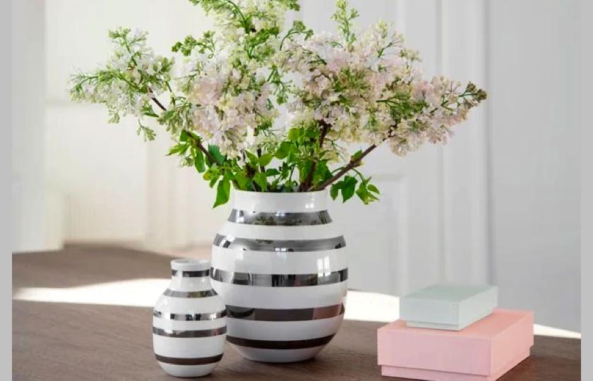 soelv stribet vase