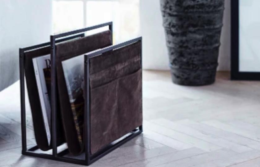 magasinholder i brunt laeder