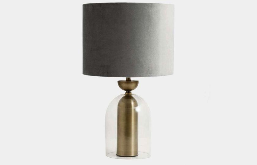 bordlampe med velour lampeskaerm
